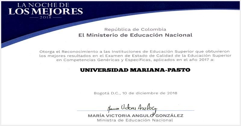 MINISTERIO EXALTA A UNIVERSIDAD MARIANA POR MEJORES RESULTADOS EN EXAMEN DE CALIDAD DE LA EDUCACIÓN SUPERIOR