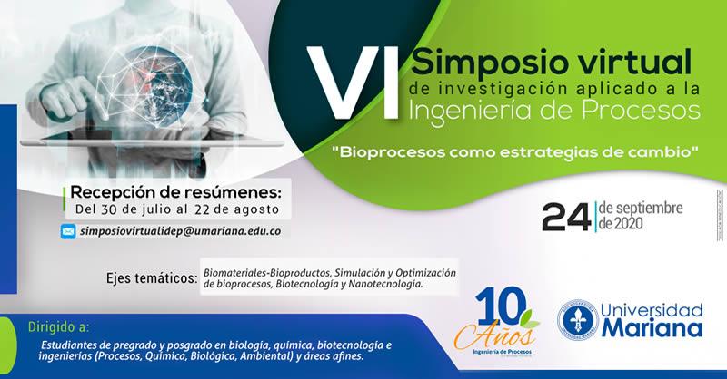 VI Simposio Virtual de Investigación aplicado a la Ingeniería de Procesos