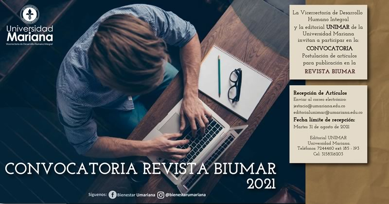 ABIERTA LA CONVOCATORIA DE POSTULACIÓN DE ARTÍCULOS PARA PUBLICACIÓN EN LA REVISTA BIUMAR
