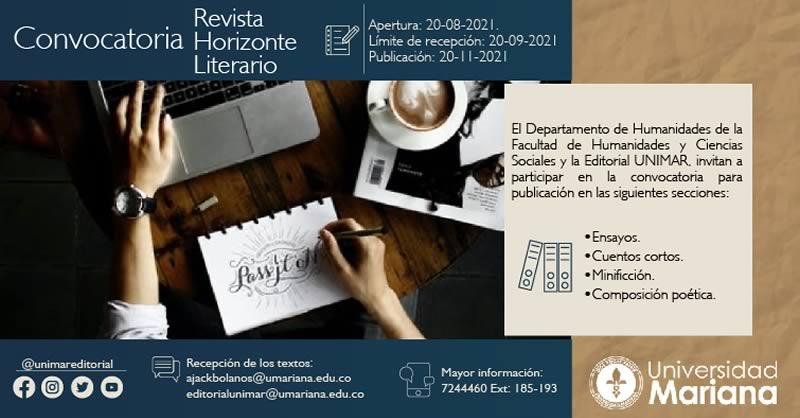 ABIERTA LA CONVOCATORIA DE POSTULACIÓN DE ARTÍCULOS PARA PUBLICACIÓN EN LA REVISTA HORIZONTE LITERARIO 2021