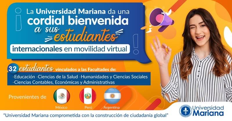 Universidad Mariana recibe en movilidad virtual, a estudiantes de México, Perú y Argentina